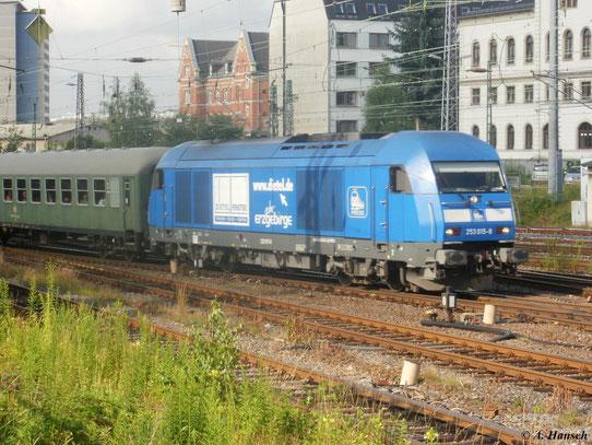223 052-2 (PRESS 253 015-8) fährt am 25. Juni 2011 mit ihrem Sonderzug aus Schwarzenberg in den Chemnitzer Hbf. ein. Ziel der Fahrt ist Vetschau