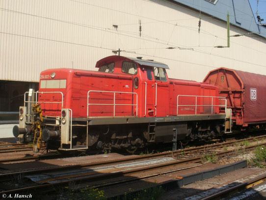 294 607-7 mit einem Güterwaggon am 18. August 2011 in Chemnitz Hbf.