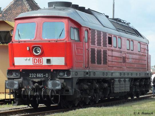 Auch für die DB noch im Einsatz: 232 665-0 am 2. Juni 2012 im Bw Staßfurt