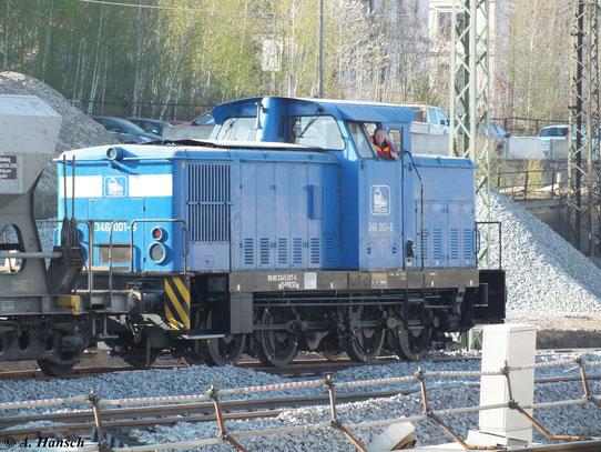 Über 2 Tage wurden einige neue Gleise in Chemnitz Hbf. eingeschottert. Auch am 24. April 2012 war 346 001-6 (345 207-5) im Dienst