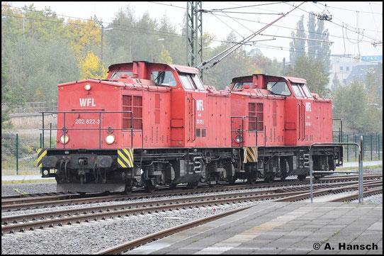 202 822-3 (WFL Lok 15) und 202 453-7 (WFL Lok 16) überraschen mich am 8. Oktober 2015 in Chemnitz Hbf.