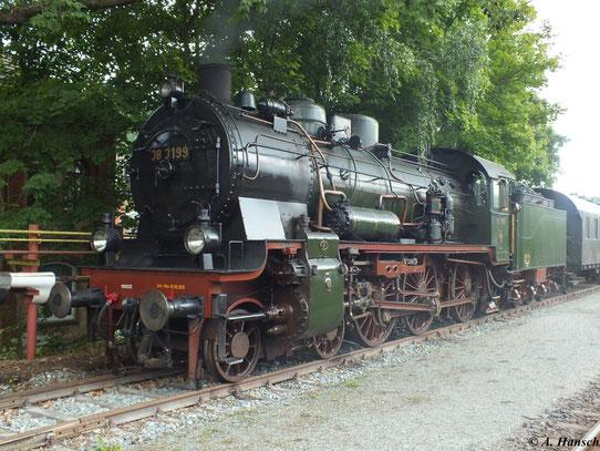 38 3199 ist am 1. September 2012 zu Gast bei den XVIII Meininger Dampfloktagen. Die Lok ist im Stil Reichsbahn aufgearbeitet worden und derzeit betriebsfähig