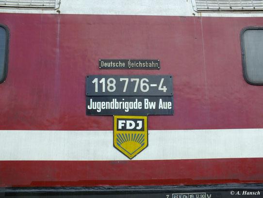 Die Lok war eine FDJ-Lok der Jugendbrigade Bw Aue