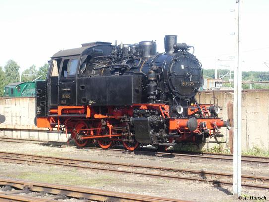 80 023 ist im SEM Chemnitz stationiert. Am 21. August 2010 war sie hier zum 20. Heizhausfest zu sehen
