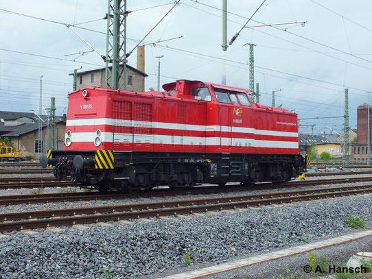 202 726-6 (V100.05 der Hessischen Güterbahn) steht am 27. Mai 2014 im Vorfeld des Chemnitzer Hbf. abgestellt