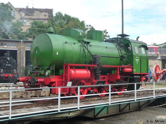 Im DB Museum Bw Halle P war am 14. Juli 2012 die ehemalige Werkslok 3 vom Reichsbahnkraftwerk Muldenstein zu sehen
