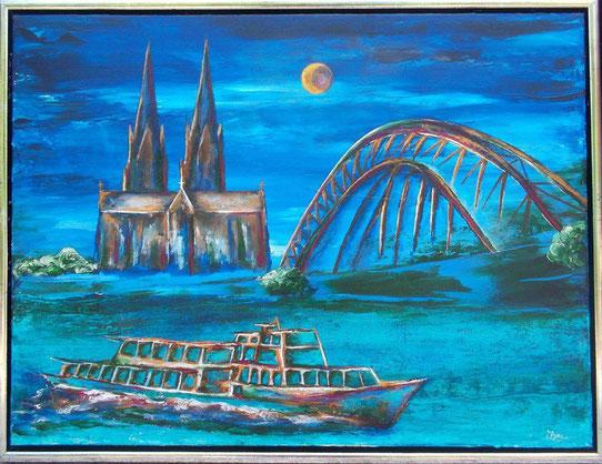 Köln bei Nacht - Acryl auf Leinwand - 50 x 60 (gerahmt)