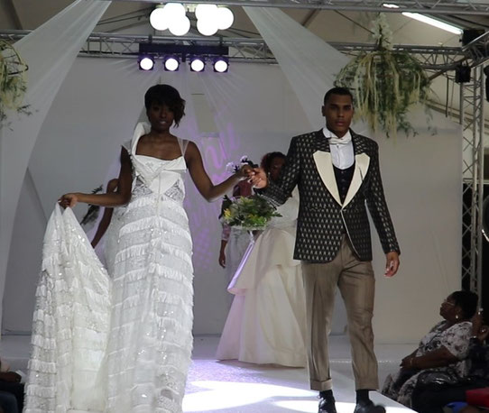 Robe de mariée Eliette Lesuperbe et costume signé Zacometi.