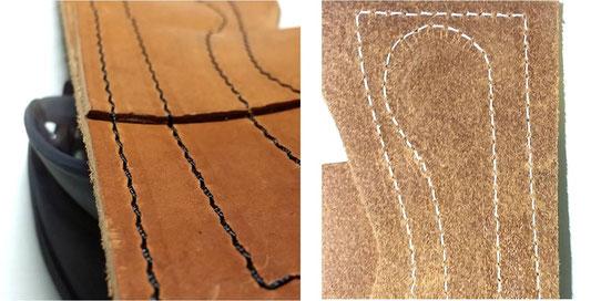 表面 5番糸使用                 裏面 8番糸使用               ※もちろん共糸(上下同じ番手)でも美しく縫えます。