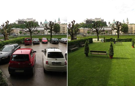 Von der autogerechten zur menschengerechten Stadt. Der Verein für verkehrspolitische Bewusstseinsbildung in Salzburg verwandelt kurzzeitig einen Parkplatz zur Grünlageanlage. Mehr Grün kann zur Routine werden. [Foto: www.fairkehr.net]