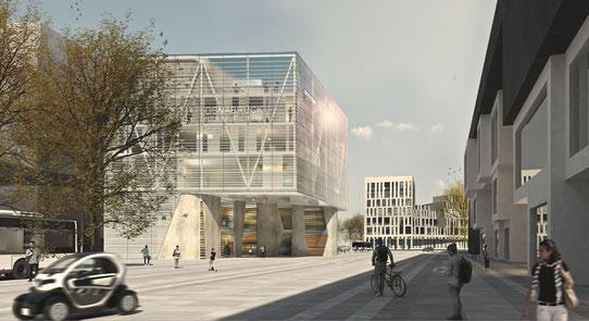 Wettbewerb neumarkt osnabrück perspektive drahtler architekten planungsgruppe visualisierung architektur