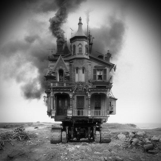 Jim Kazanjian photomontage surrealism black and white affordable vehicle