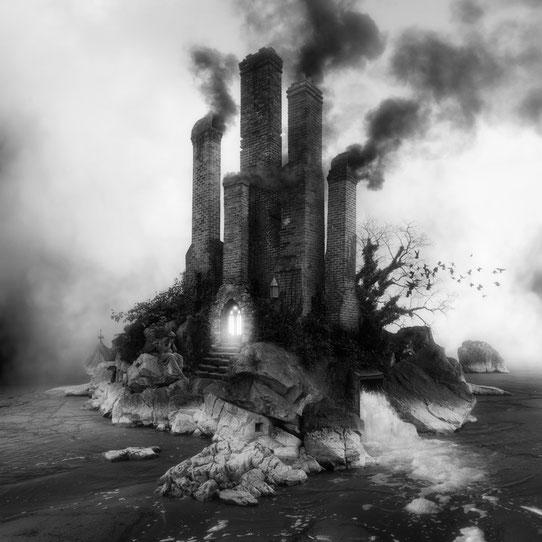 Jim Kazanjian photomontage surrealism black and white affordable grotto