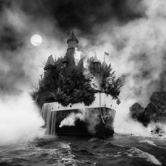 Jim Kazanjian photomontage surrealism black and white affordable vessel