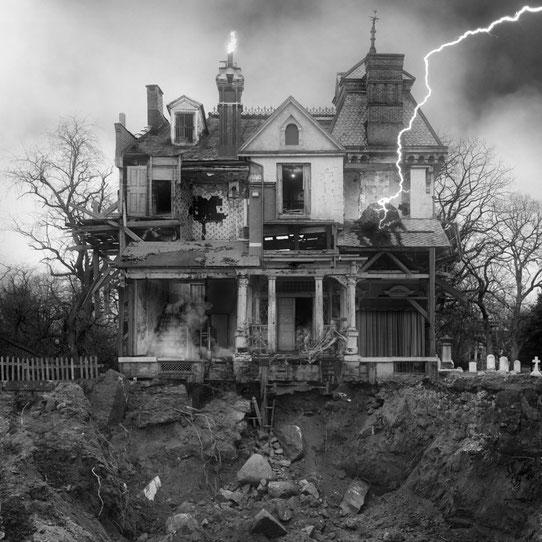 Jim Kazanjian photomontage surrealism black and white affordable exterior