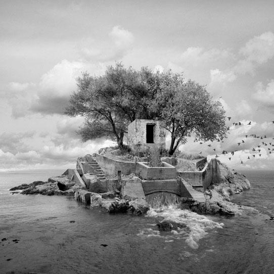 Jim Kazanjian photomontage surrealism black and white affordable outpost