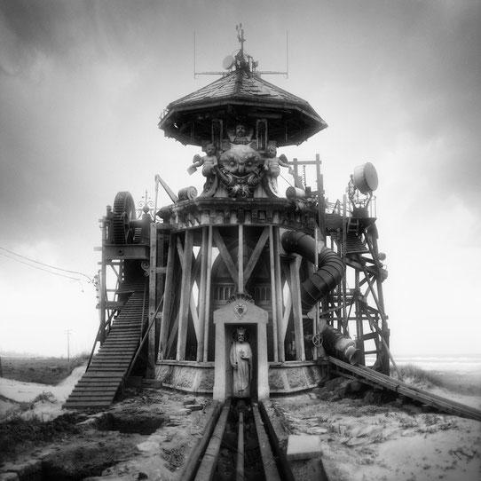 Jim Kazanjian photomontage surrealism black and white affordable station
