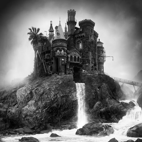 Jim Kazanjian photomontage surrealism black and white affordable chateau