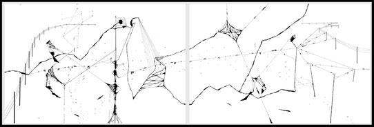 Olivier Marin, diptyque, dessin sur papier, misia gallery