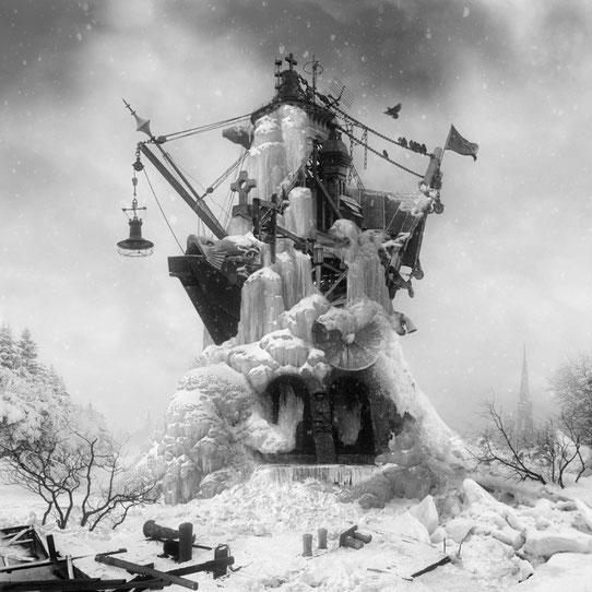 Jim Kazanjian photomontage surrealism black and white affordable tomb