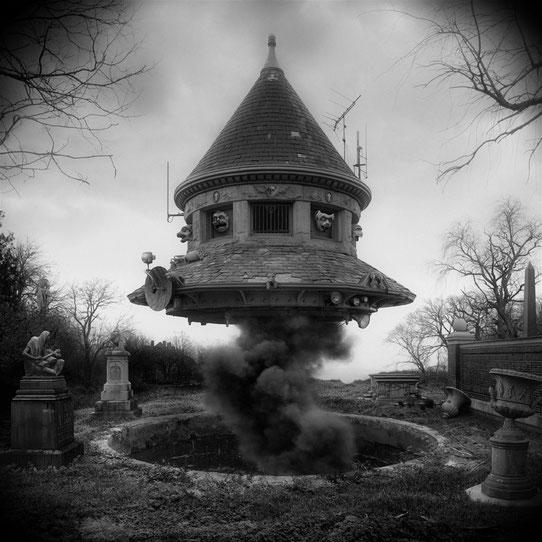 Jim Kazanjian photomontage surrealism black and white affordable ufo