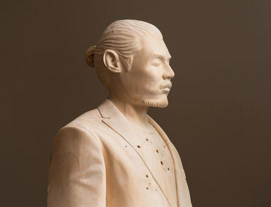 Paul Kaptein carved wood sculpture unique Unknowing