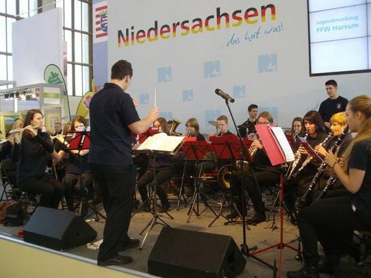 Auftritt des Jugendmusikzuges auf der Grünen Woche 2014 in Berlin