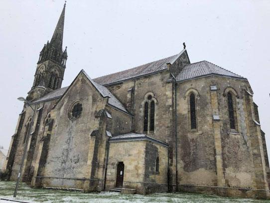 L'église Saint-Maurice lors de l'épisode neigeux du 28 Février 2018.