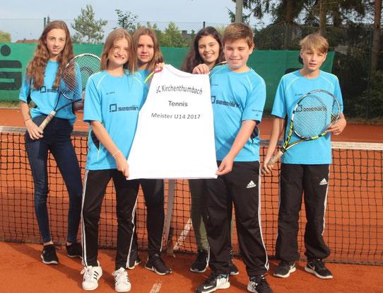 Meister Mannschaft U14: Hannah Luisa Götz, Ellen Sobirey, Jule Kunert, Vanessa Berger, Yannick Rauch und Paul Sobirey