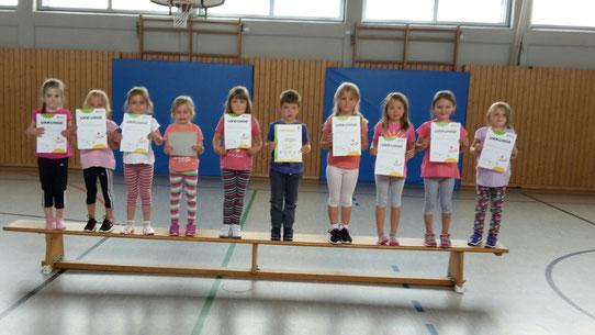 Vorschulkinder  Verleihung  des Kinderturnabzeichen