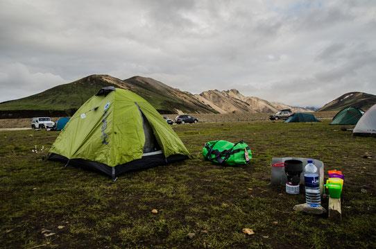 Au camping de Landmannalaugaur !
