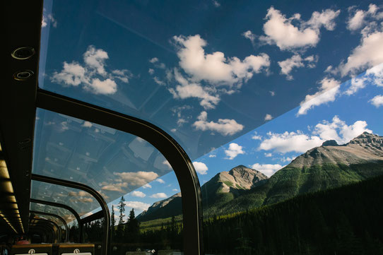 Mountain scenery from GoldLeaf Service dome. Photo credit - Rocky Mountaineer
