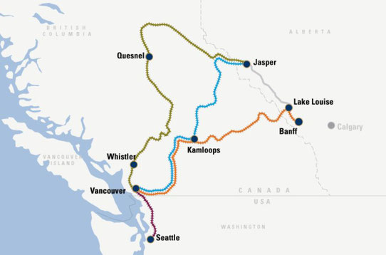 Les différents trajets du Rocky Mountaineer, Source : rockymountaineer.com