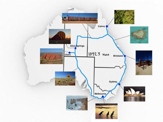 La carte de notre voyage en Australie !