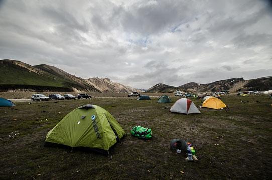 Au camping de Landmannalaugar, un décor splendide !