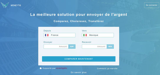 Capture écran du site web de Moneytis