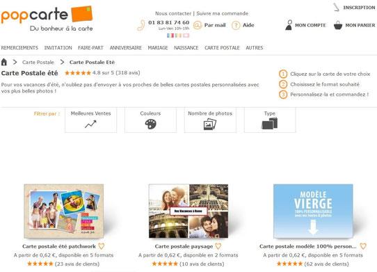 Capture d'écran du site Popcarte
