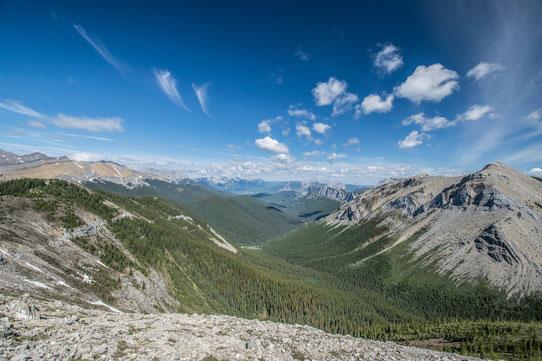 Vue depuis le sommet de la Sulphur Skyline à Jasper, Canada