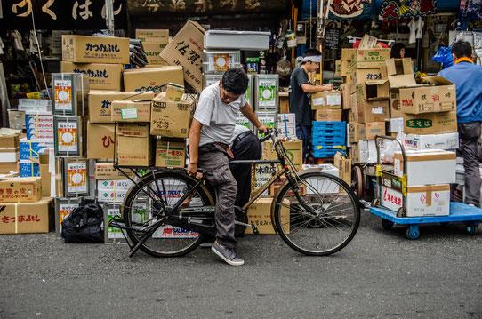 Aux abords du marché aux poissons de Tokyo