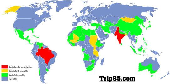 Carte du monde : Climat de Avril - (c)Trip85.com
