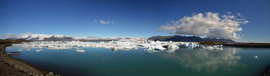 Vue panoramique sur le lagon de Jokulsarlon, Islande