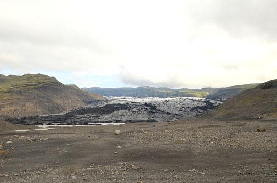 Le glacier Solheimajökull vu depuis le parking
