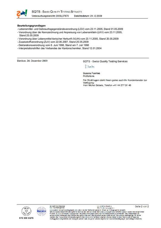 Prüfungsblatt 2 Swiss Quiality Testing