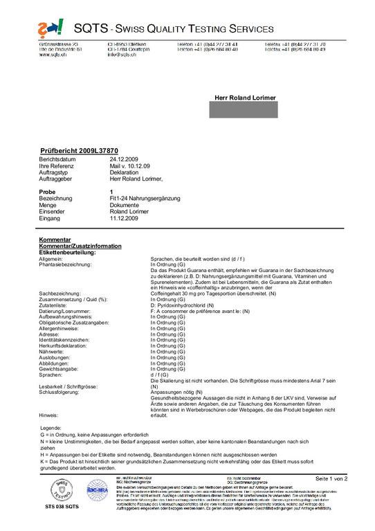 Prüfungsblatt 1 Swiss Quiality Testing