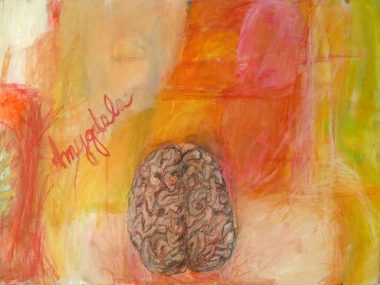 """Amygdala"" 2017, Acryl und Pastellkreide auf Leinwand, 60x80 cm"