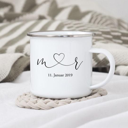 Emaillebecher mit silbernem Rand Hochzeitsgeschenk personalisiert