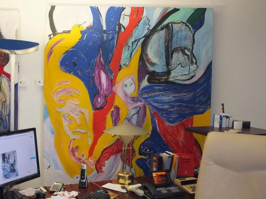 geh nicht fort, Acryl auf Leinwand mit Materialmix, 180 x 200 cm