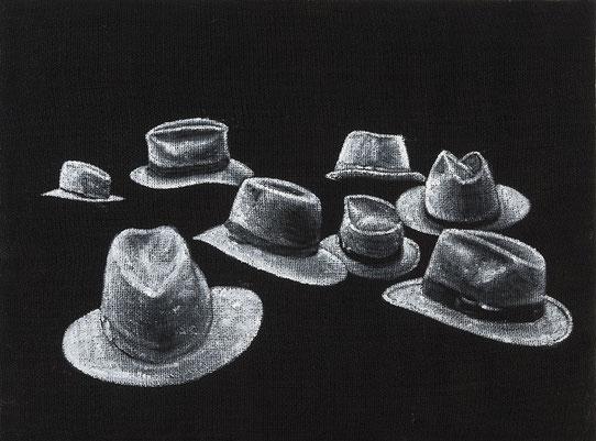 Dipinto su juta - Composizione  - nero e grigi - Arte contemporanea