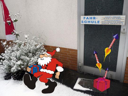Foto der verschneiten Eingangstür zur Fahrschule