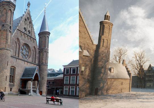 De ridderzaal zoals in huidige staat en de ridderzaal als reconstructie door Archeo3D (wikimedia commons).